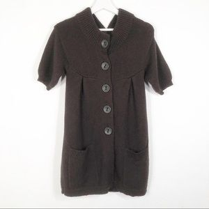 VINCE XS Brown Big Button Front Cardigan Sweater